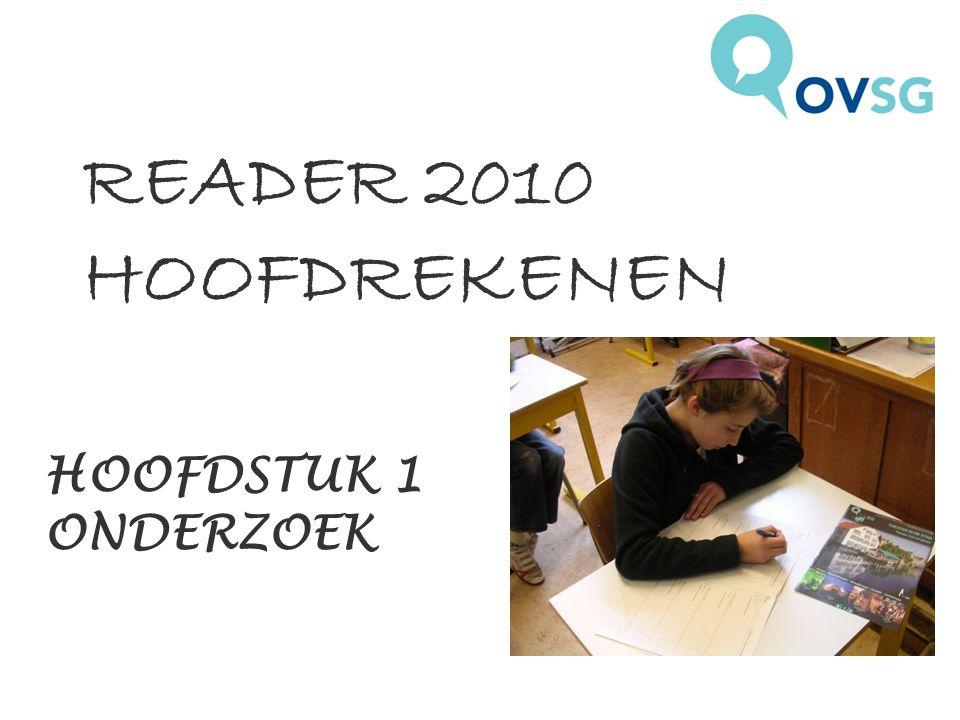 HOOFDSTUK 1 ONDERZOEK READER 2010 HOOFDREKENEN