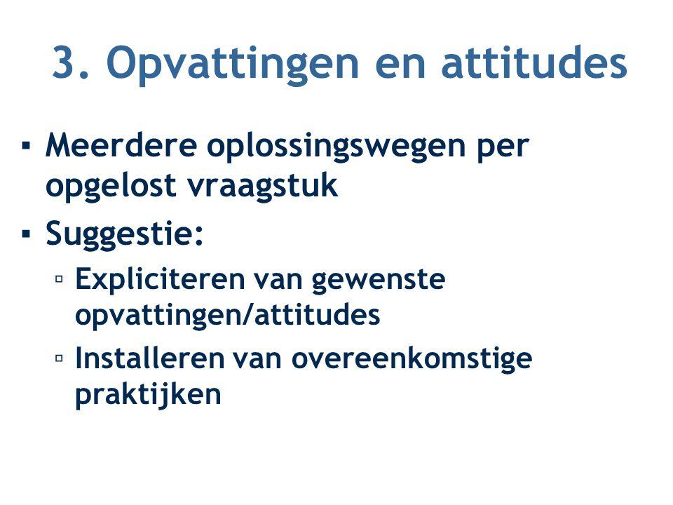 3. Opvattingen en attitudes ▪Meerdere oplossingswegen per opgelost vraagstuk ▪Suggestie: ▫Expliciteren van gewenste opvattingen/attitudes ▫Installeren