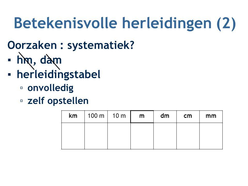 Betekenisvolle herleidingen (2) Oorzaken : systematiek? ▪hm, dam ▪herleidingstabel ▫onvolledig ▫zelf opstellen km100 m10 mmdmcmmm