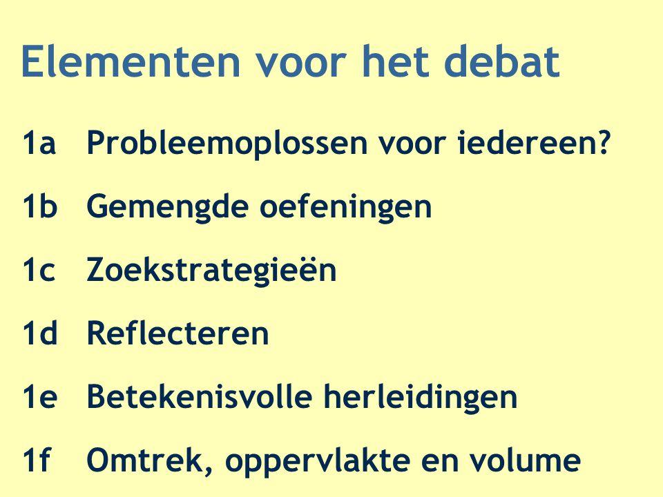 Elementen voor het debat 1aProbleemoplossen voor iedereen? 1bGemengde oefeningen 1cZoekstrategieën 1dReflecteren 1eBetekenisvolle herleidingen 1fOmtre