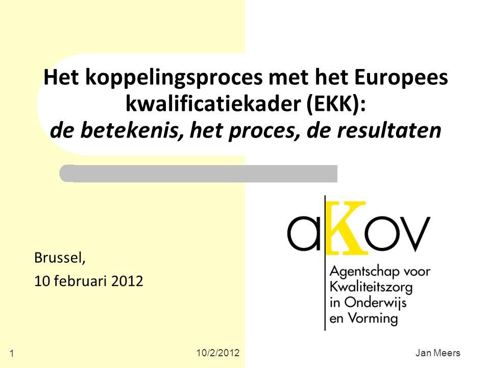 Het koppelingsproces met het Europees kwalificatiekader (EKK): de betekenis, het proces, de resultaten Brussel, 10 februari 2012 10/2/2012 1 Jan Meers