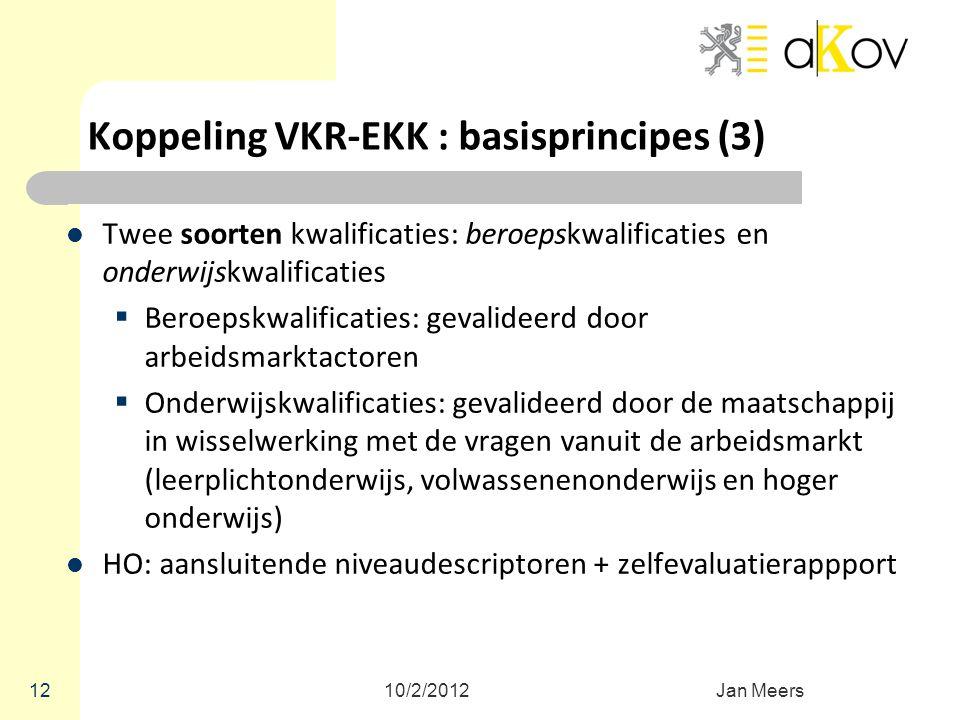 Koppeling VKR-EKK : basisprincipes (3) Twee soorten kwalificaties: beroepskwalificaties en onderwijskwalificaties  Beroepskwalificaties: gevalideerd