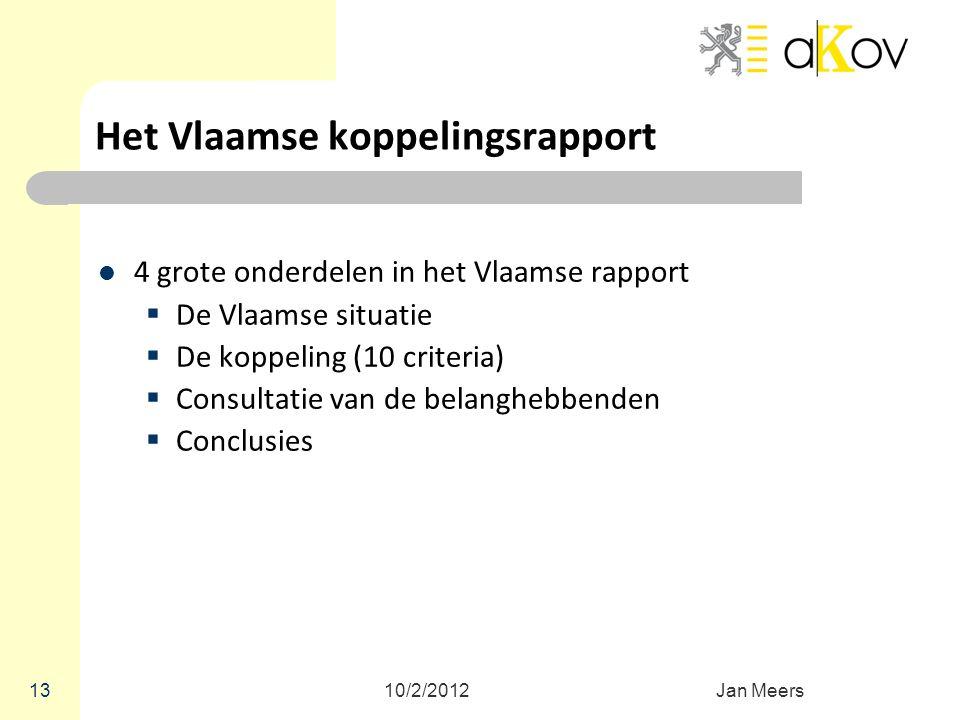 Het Vlaamse koppelingsrapport 4 grote onderdelen in het Vlaamse rapport  De Vlaamse situatie  De koppeling (10 criteria)  Consultatie van de belang