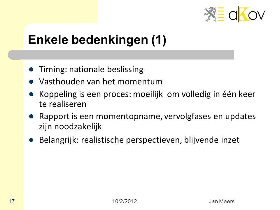 Enkele bedenkingen (1) Timing: nationale beslissing Vasthouden van het momentum Koppeling is een proces: moeilijk om volledig in één keer te realisere