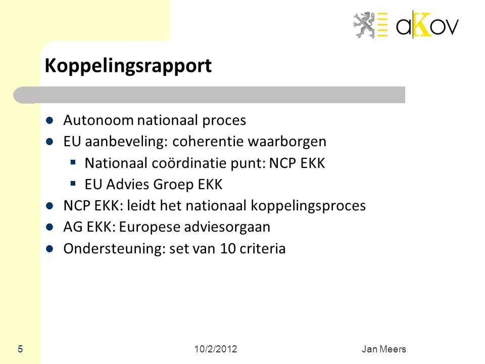5 Koppelingsrapport Autonoom nationaal proces EU aanbeveling: coherentie waarborgen  Nationaal coördinatie punt: NCP EKK  EU Advies Groep EKK NCP EK