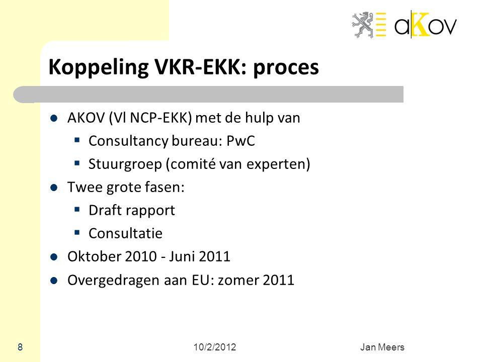 Koppeling VKR-EKK: proces AKOV (Vl NCP-EKK) met de hulp van  Consultancy bureau: PwC  Stuurgroep (comité van experten) Twee grote fasen:  Draft rap