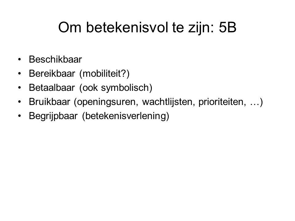 Om betekenisvol te zijn: 5B Beschikbaar Bereikbaar (mobiliteit?) Betaalbaar (ook symbolisch) Bruikbaar (openingsuren, wachtlijsten, prioriteiten, …) B