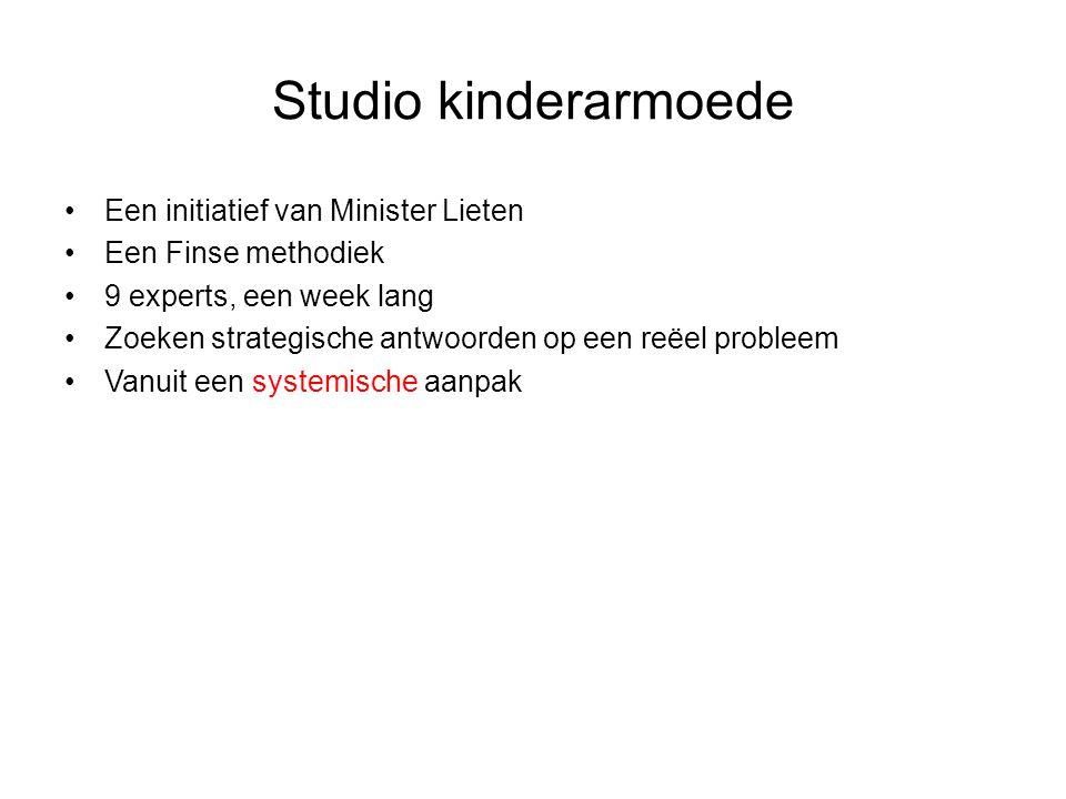 Studio kinderarmoede Een initiatief van Minister Lieten Een Finse methodiek 9 experts, een week lang Zoeken strategische antwoorden op een reëel probleem Vanuit een systemische aanpak