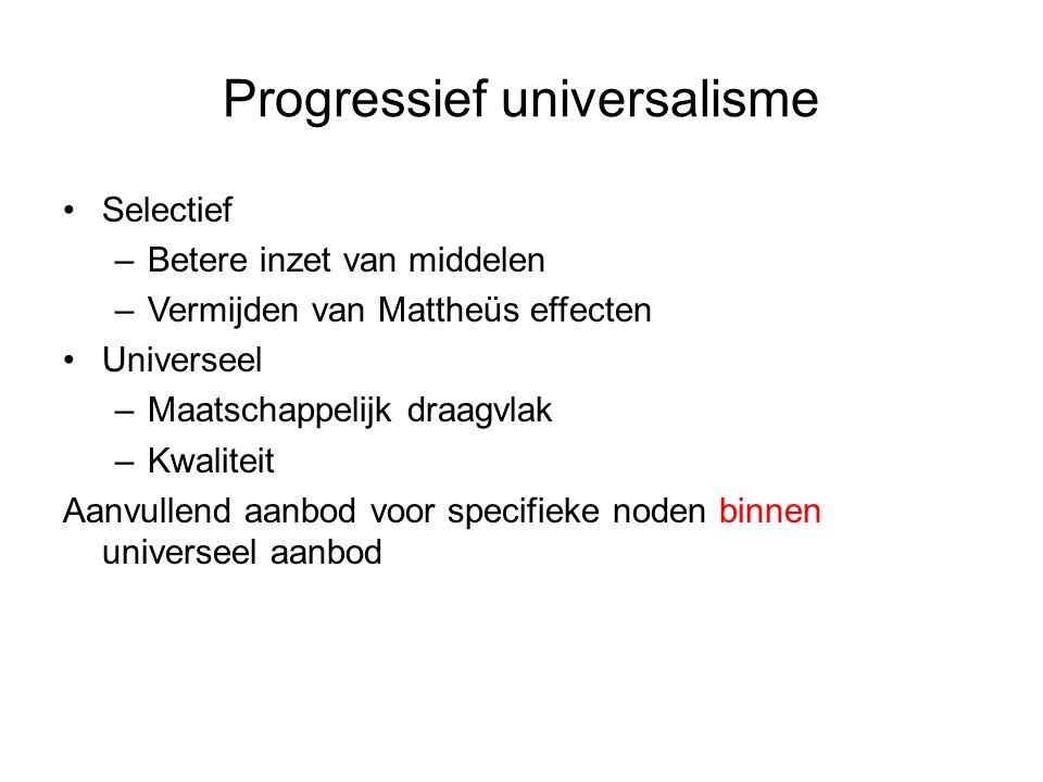 Progressief universalisme Selectief –Betere inzet van middelen –Vermijden van Mattheüs effecten Universeel –Maatschappelijk draagvlak –Kwaliteit Aanvullend aanbod voor specifieke noden binnen universeel aanbod
