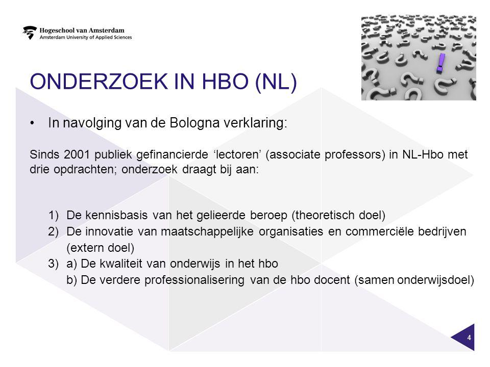 ONDERZOEK IN HBO (NL) In navolging van de Bologna verklaring: Sinds 2001 publiek gefinancierde 'lectoren' (associate professors) in NL-Hbo met drie opdrachten; onderzoek draagt bij aan: 1)De kennisbasis van het gelieerde beroep (theoretisch doel) 2)De innovatie van maatschappelijke organisaties en commerciële bedrijven (extern doel) 3)a) De kwaliteit van onderwijs in het hbo b) De verdere professionalisering van de hbo docent (samenonderwijsdoel) 4