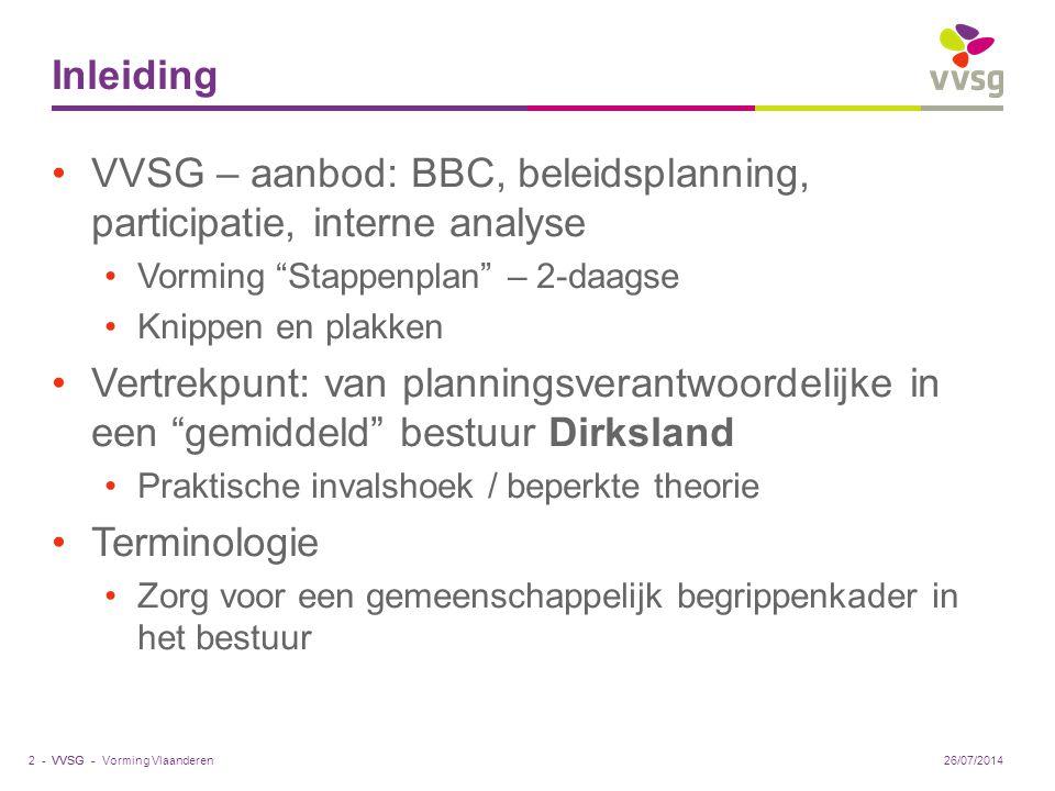 "VVSG - Inleiding VVSG – aanbod: BBC, beleidsplanning, participatie, interne analyse Vorming ""Stappenplan"" – 2-daagse Knippen en plakken Vertrekpunt: v"