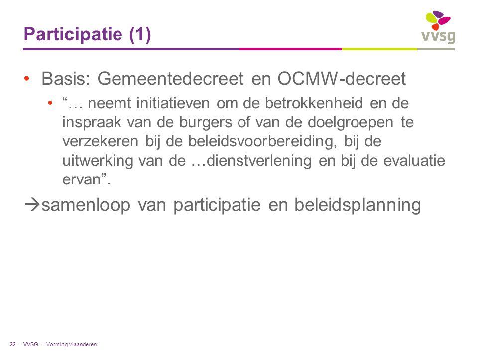 """VVSG - Participatie (1) Basis: Gemeentedecreet en OCMW-decreet """"… neemt initiatieven om de betrokkenheid en de inspraak van de burgers of van de doelg"""