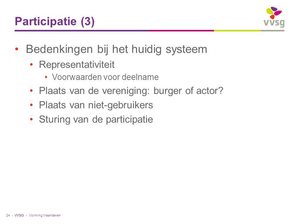 VVSG - Participatie (3) Bedenkingen bij het huidig systeem Representativiteit Voorwaarden voor deelname Plaats van de vereniging: burger of actor? Pla