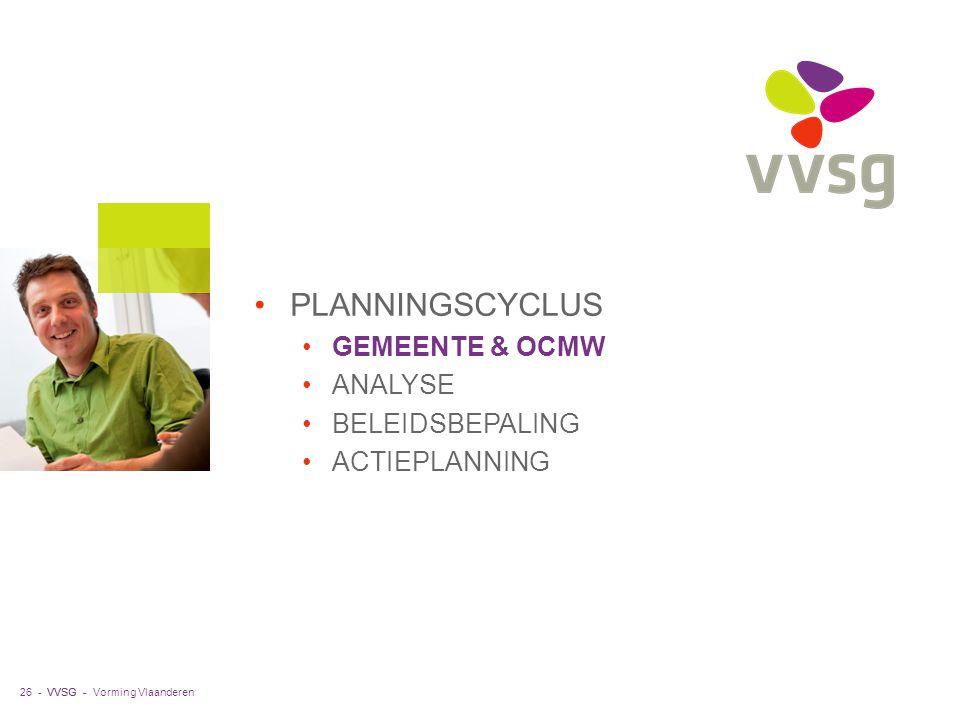 VVSG - PLANNINGSCYCLUS GEMEENTE & OCMW ANALYSE BELEIDSBEPALING ACTIEPLANNING Vorming Vlaanderen26 -