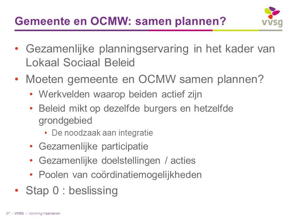 VVSG - Gemeente en OCMW: samen plannen? Gezamenlijke planningservaring in het kader van Lokaal Sociaal Beleid Moeten gemeente en OCMW samen plannen? W