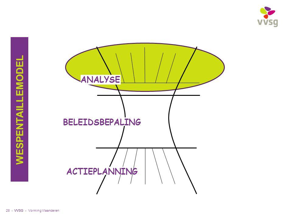 VVSG - 28 - ANALYSE ACTIEPLANNING BELEIDSBEPALING WESPENTAILLEMODEL Vorming Vlaanderen