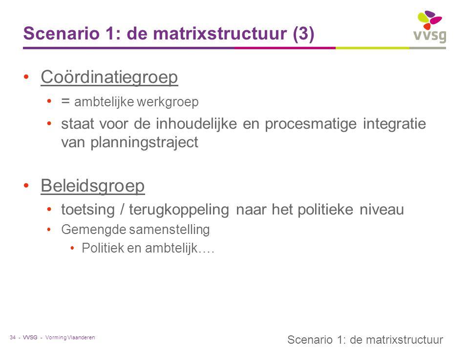 VVSG - Scenario 1: de matrixstructuur (3) Coördinatiegroep = ambtelijke werkgroep staat voor de inhoudelijke en procesmatige integratie van planningst
