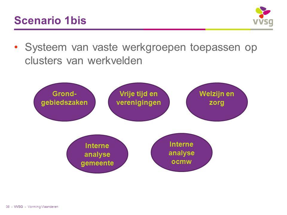 VVSG - Scenario 1bis Systeem van vaste werkgroepen toepassen op clusters van werkvelden Vorming Vlaanderen38 - Grond- gebiedszaken Vrije tijd en veren