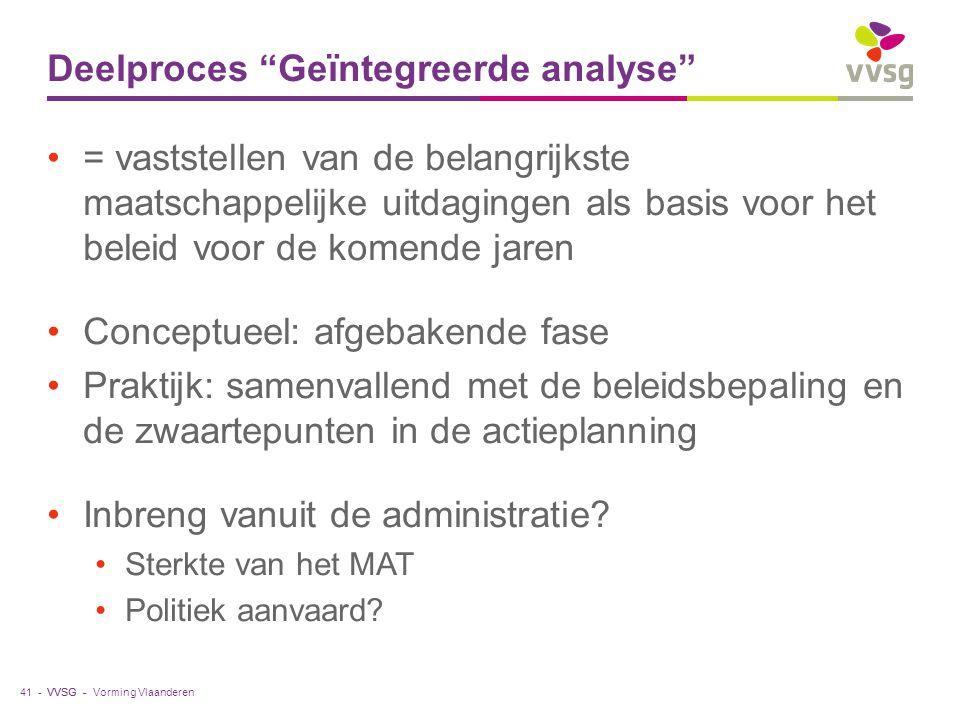 """VVSG - Deelproces """"Geïntegreerde analyse"""" = vaststellen van de belangrijkste maatschappelijke uitdagingen als basis voor het beleid voor de komende ja"""