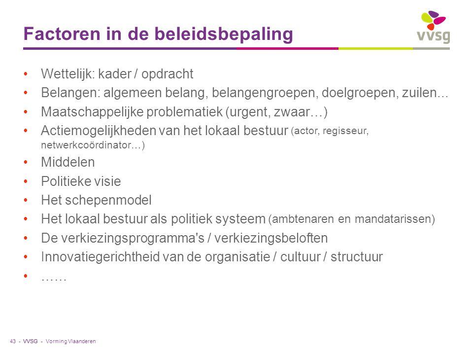 VVSG - Factoren in de beleidsbepaling Wettelijk: kader / opdracht Belangen: algemeen belang, belangengroepen, doelgroepen, zuilen... Maatschappelijke