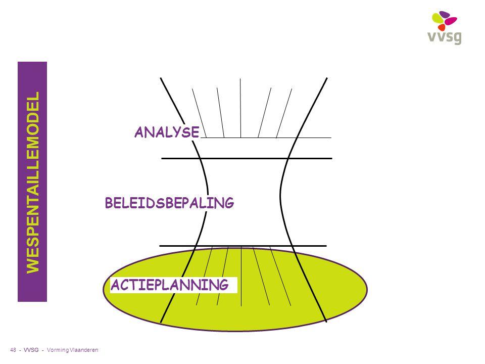 VVSG - 48 - ANALYSE ACTIEPLANNING BELEIDSBEPALING WESPENTAILLEMODEL Vorming Vlaanderen