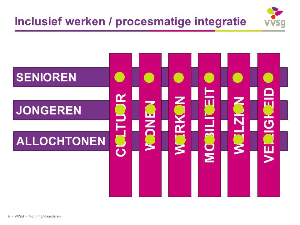 VVSG - ALLOCHTONEN SENIOREN JONGEREN CULTUUR WONEN WERKEN MOBILITEIT WELZIJN VEILIGHEID Inclusief werken / procesmatige integratie Vorming Vlaanderen5