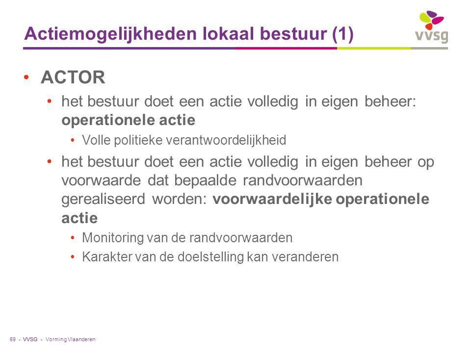 VVSG - Actiemogelijkheden lokaal bestuur (1) ACTOR het bestuur doet een actie volledig in eigen beheer: operationele actie Volle politieke verantwoord