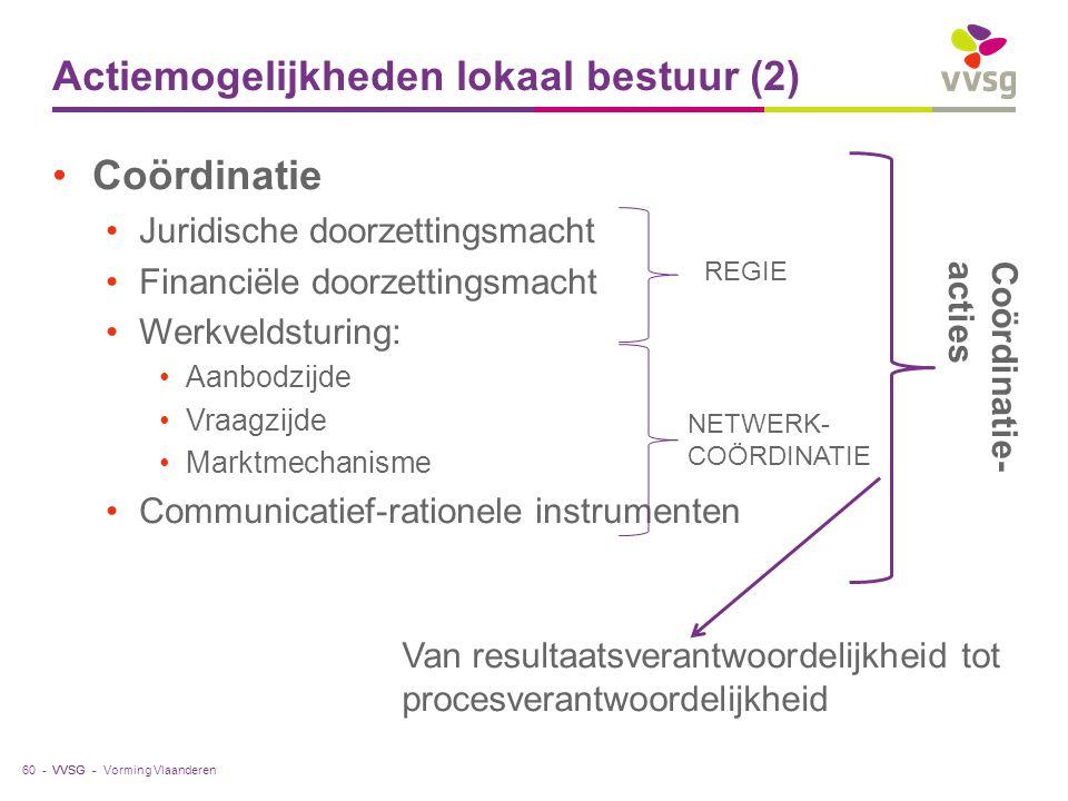 VVSG - Actiemogelijkheden lokaal bestuur (2) Coördinatie Juridische doorzettingsmacht Financiële doorzettingsmacht Werkveldsturing: Aanbodzijde Vraagz