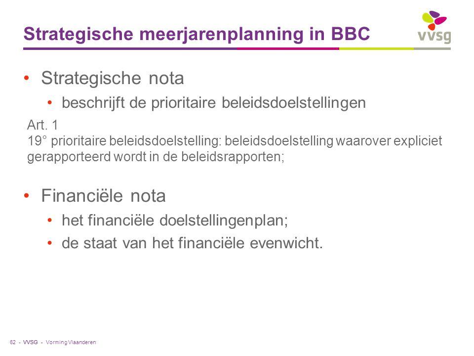 VVSG - Strategische meerjarenplanning in BBC Strategische nota beschrijft de prioritaire beleidsdoelstellingen Financiële nota het financiële doelstel
