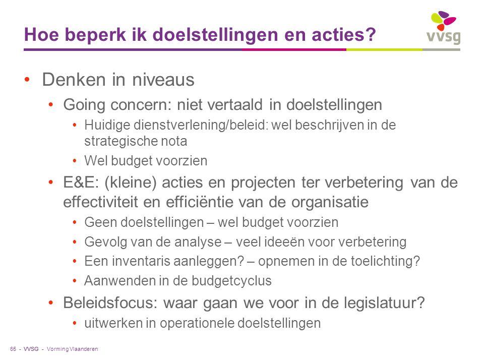 VVSG - Hoe beperk ik doelstellingen en acties? Denken in niveaus Going concern: niet vertaald in doelstellingen Huidige dienstverlening/beleid: wel be