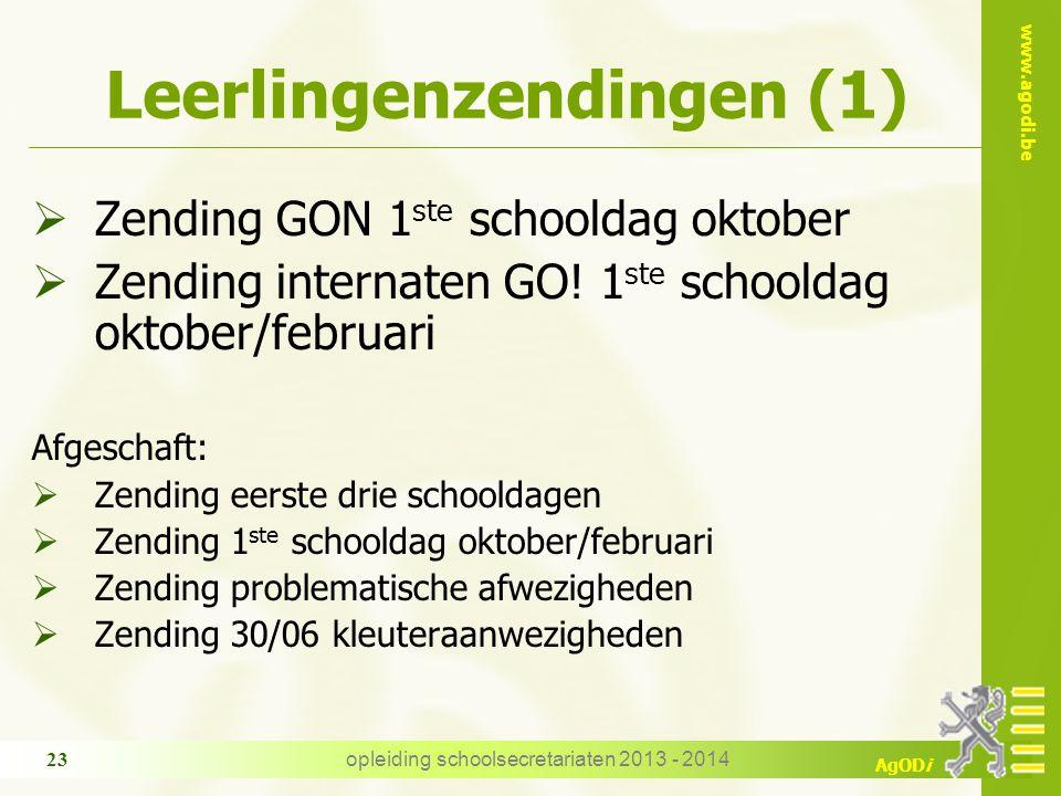 www.agodi.be AgODi Leerlingenzendingen (1)  Zending GON 1 ste schooldag oktober  Zending internaten GO! 1 ste schooldag oktober/februari Afgeschaft: