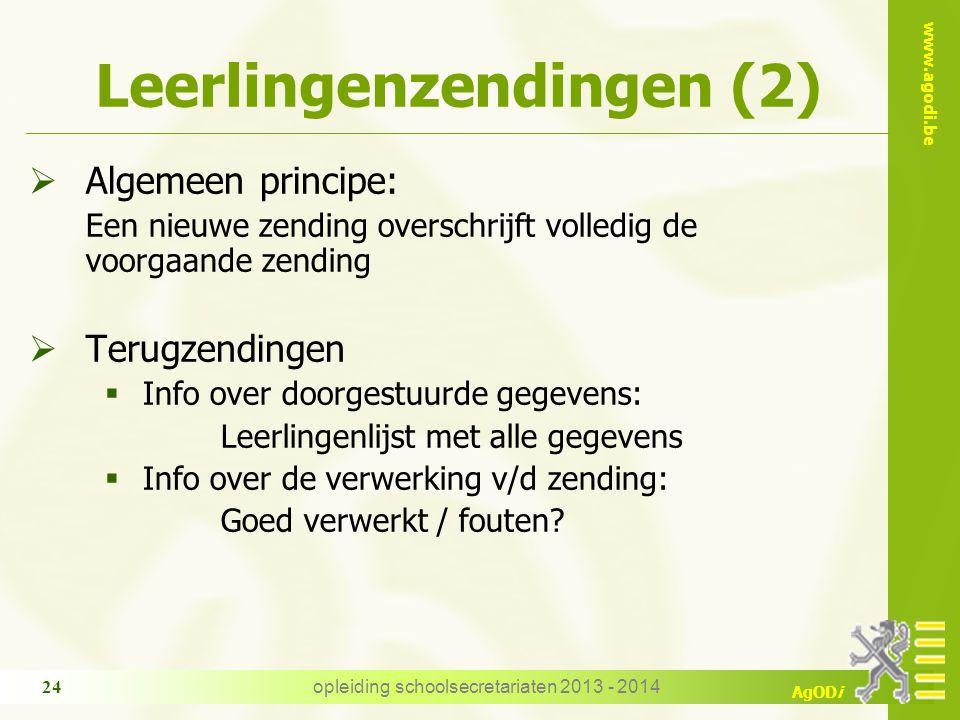 www.agodi.be AgODi Leerlingenzendingen (2)  Algemeen principe: Een nieuwe zending overschrijft volledig de voorgaande zending  Terugzendingen  Info