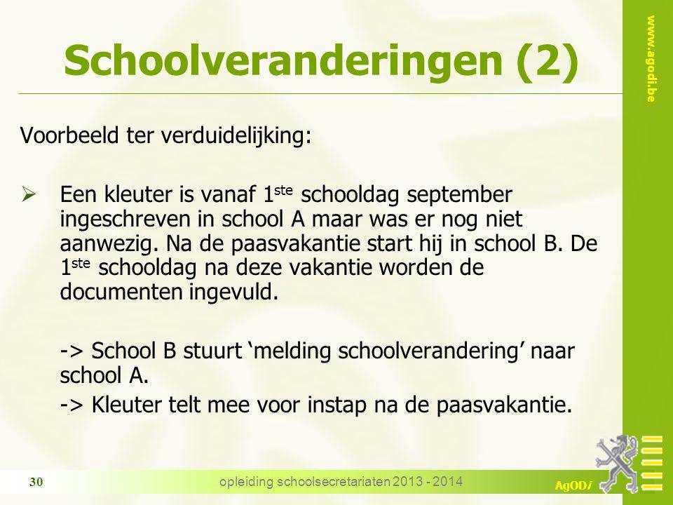 www.agodi.be AgODi opleiding schoolsecretariaten 2013 - 2014 30 Schoolveranderingen (2) Voorbeeld ter verduidelijking:  Een kleuter is vanaf 1 ste sc