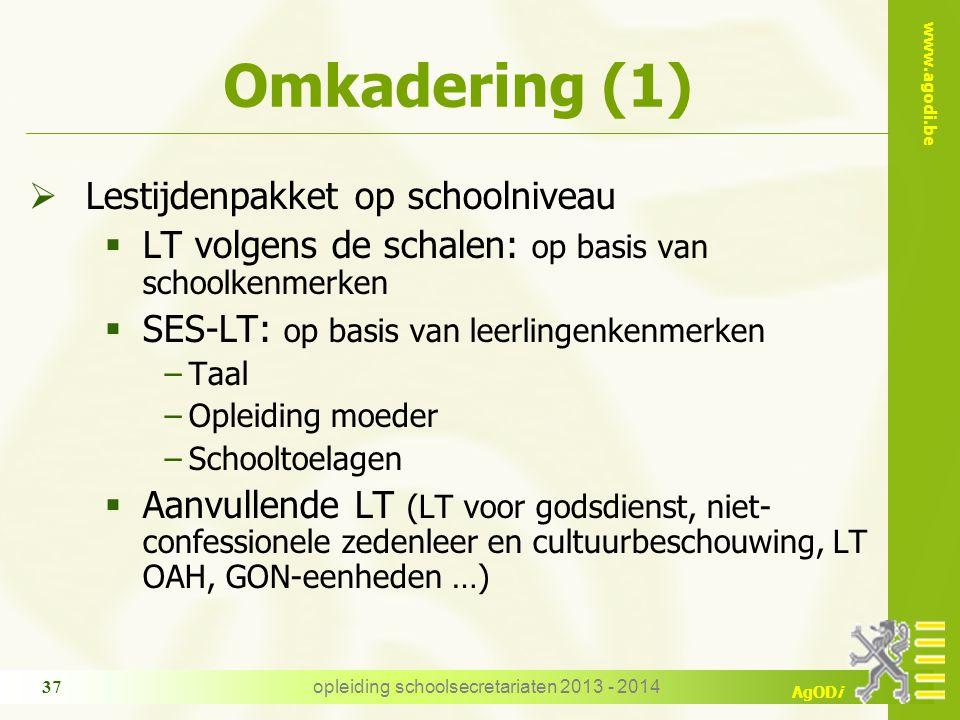 www.agodi.be AgODi opleiding schoolsecretariaten 2013 - 2014 37 Omkadering (1)  Lestijdenpakket op schoolniveau  LT volgens de schalen: op basis van