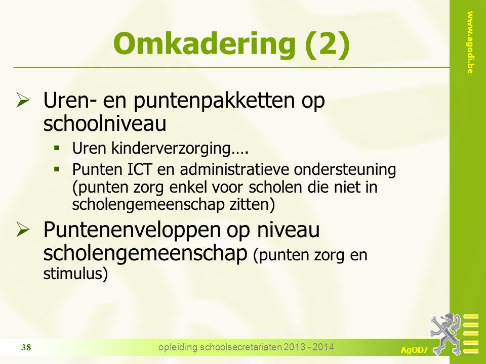 www.agodi.be AgODi Omkadering (2)  Uren- en puntenpakketten op schoolniveau  Uren kinderverzorging….  Punten ICT en administratieve ondersteuning (
