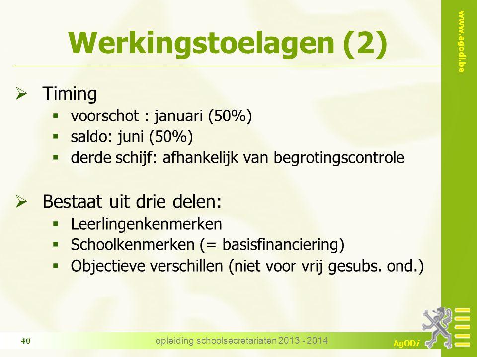 www.agodi.be AgODi Werkingstoelagen (2)  Timing  voorschot : januari (50%)  saldo: juni (50%)  derde schijf: afhankelijk van begrotingscontrole 