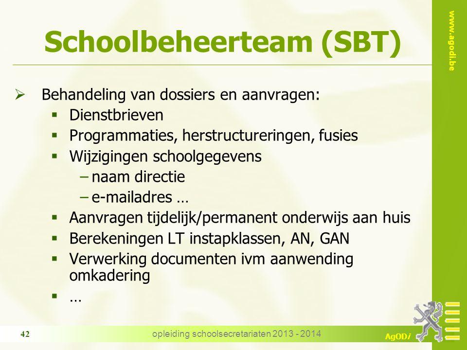 www.agodi.be AgODi opleiding schoolsecretariaten 2013 - 2014 42 Schoolbeheerteam (SBT)  Behandeling van dossiers en aanvragen:  Dienstbrieven  Prog
