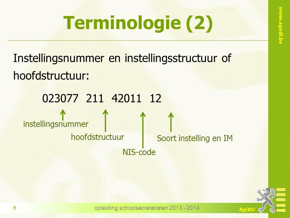 www.agodi.be AgODi Terminologie (2) Instellingsnummer en instellingsstructuur of hoofdstructuur: 023077 211 42011 12 instellingsnummer hoofdstructuur