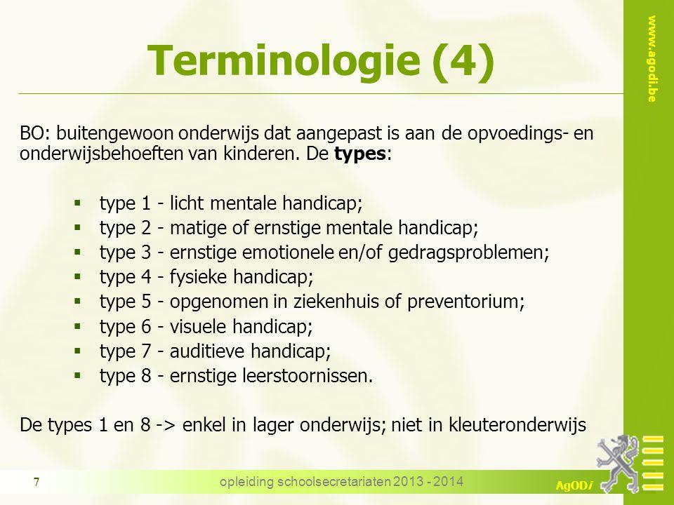 www.agodi.be AgODi Terminologie (4) BO: buitengewoon onderwijs dat aangepast is aan de opvoedings- en onderwijsbehoeften van kinderen. De types:  typ