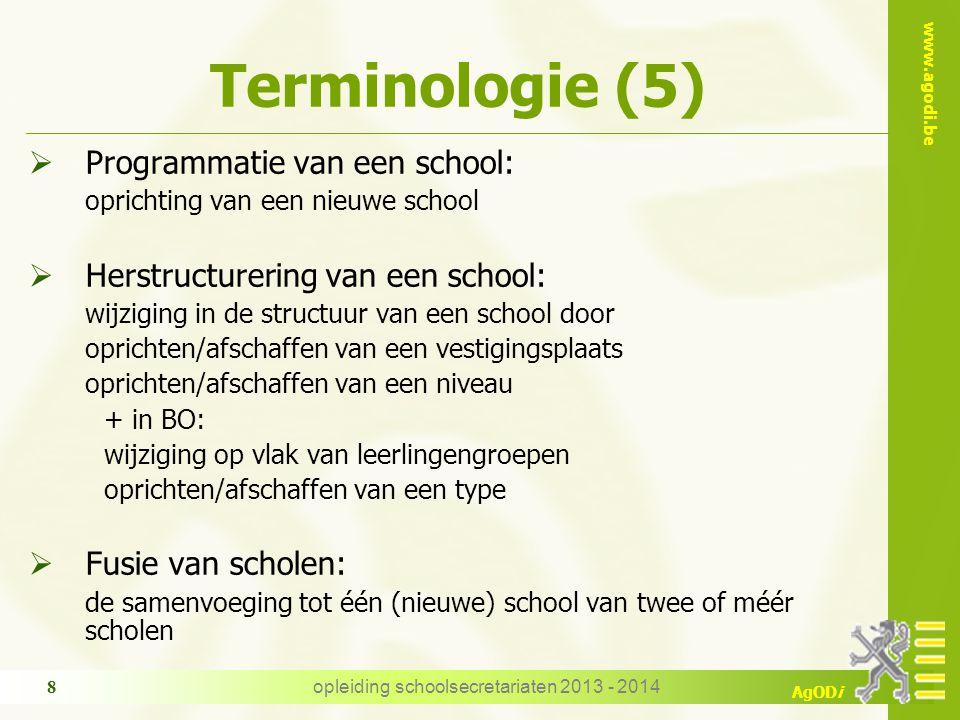 www.agodi.be AgODi Terminologie (5)  Programmatie van een school: oprichting van een nieuwe school  Herstructurering van een school: wijziging in de