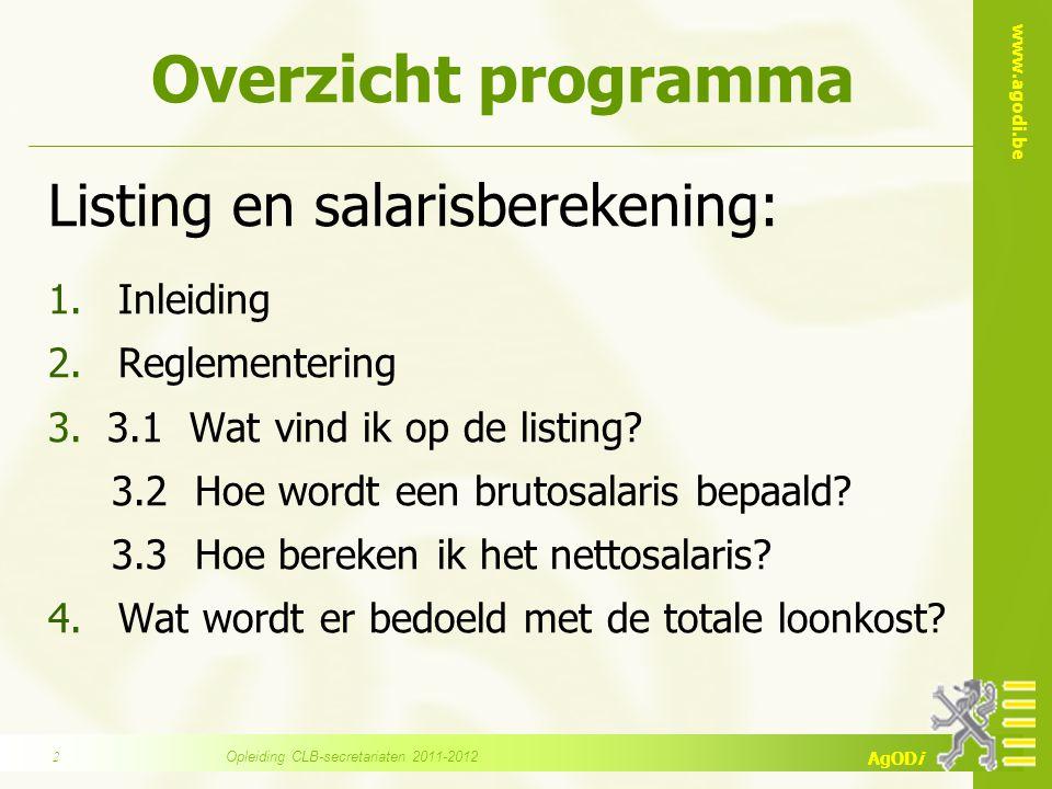 www.agodi.be AgODi Overzicht programma Listing en salarisberekening: 1.Inleiding 2.Reglementering 3.3.1 Wat vind ik op de listing.