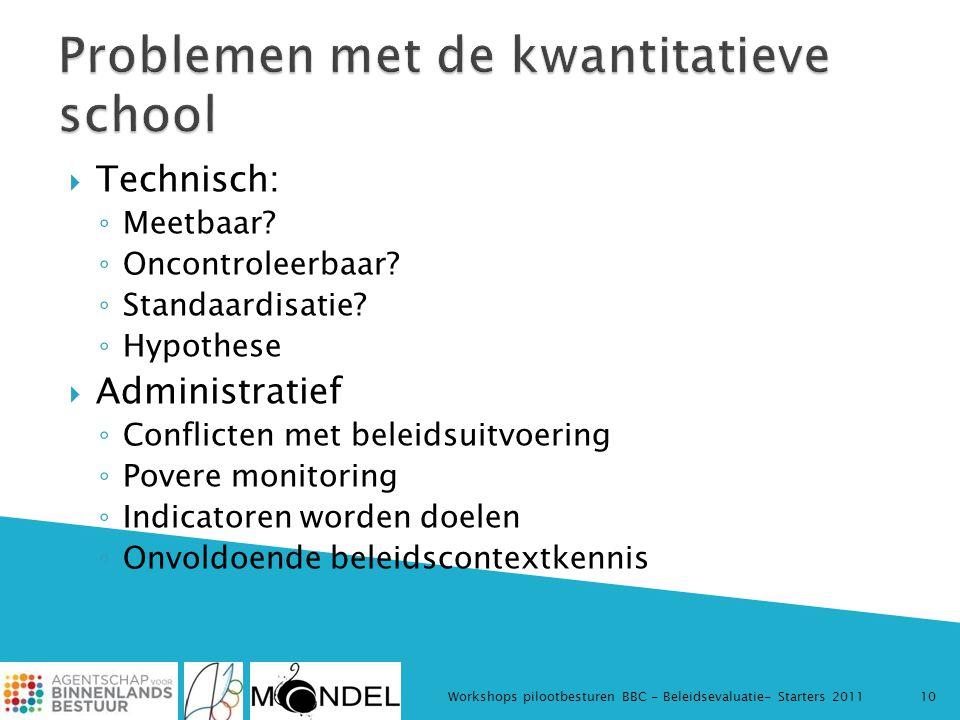  Technisch: ◦ Meetbaar? ◦ Oncontroleerbaar? ◦ Standaardisatie? ◦ Hypothese  Administratief ◦ Conflicten met beleidsuitvoering ◦ Povere monitoring ◦