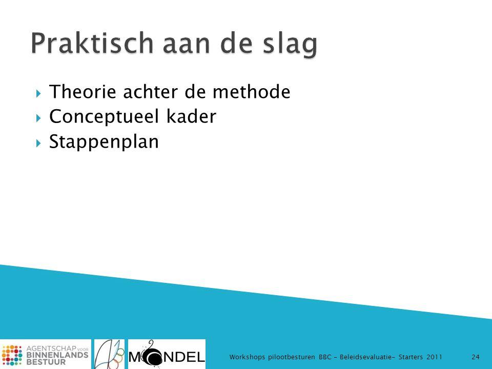  Theorie achter de methode  Conceptueel kader  Stappenplan Workshops pilootbesturen BBC - Beleidsevaluatie- Starters 201124
