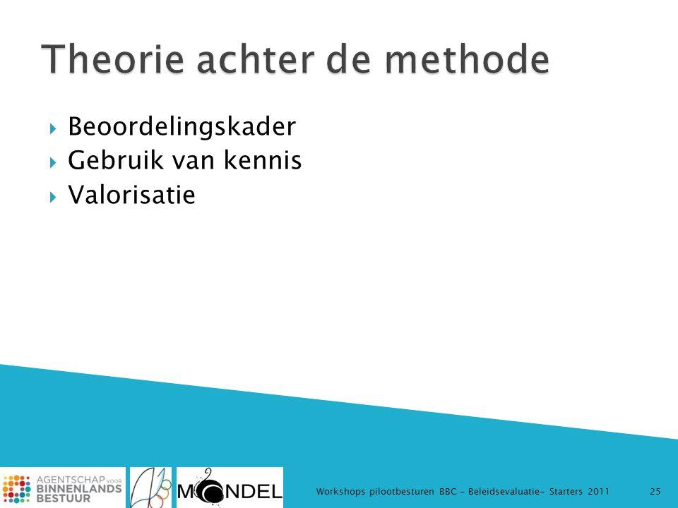  Beoordelingskader  Gebruik van kennis  Valorisatie Workshops pilootbesturen BBC - Beleidsevaluatie- Starters 201125