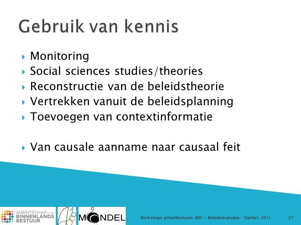  Monitoring  Social sciences studies/theories  Reconstructie van de beleidstheorie  Vertrekken vanuit de beleidsplanning  Toevoegen van contextin