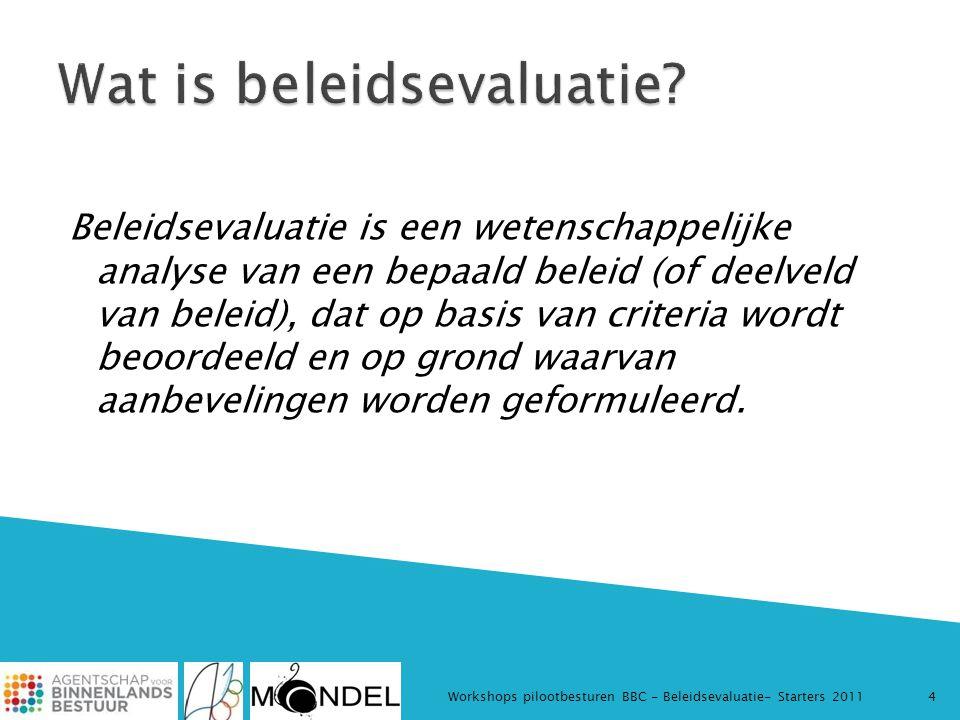 Beleidsevaluatie is een wetenschappelijke analyse van een bepaald beleid (of deelveld van beleid), dat op basis van criteria wordt beoordeeld en op gr