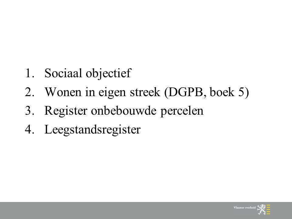 1.Sociaal objectief 2.Wonen in eigen streek (DGPB, boek 5) 3.Register onbebouwde percelen 4.Leegstandsregister
