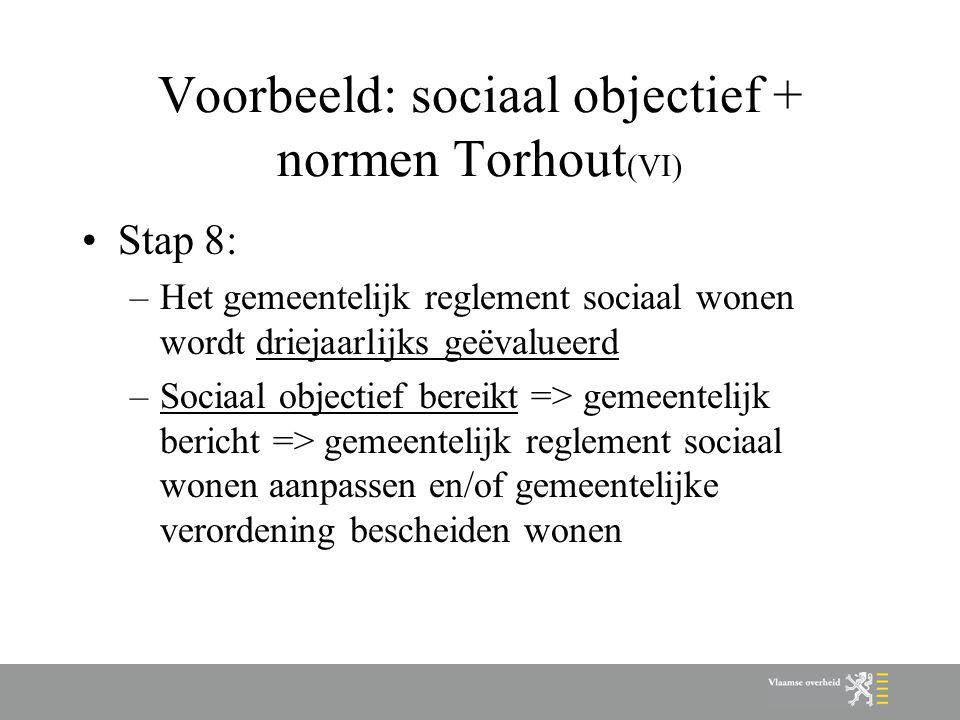 Voorbeeld: sociaal objectief + normen Torhout (VI) Stap 8: –Het gemeentelijk reglement sociaal wonen wordt driejaarlijks geëvalueerd –Sociaal objectief bereikt => gemeentelijk bericht => gemeentelijk reglement sociaal wonen aanpassen en/of gemeentelijke verordening bescheiden wonen