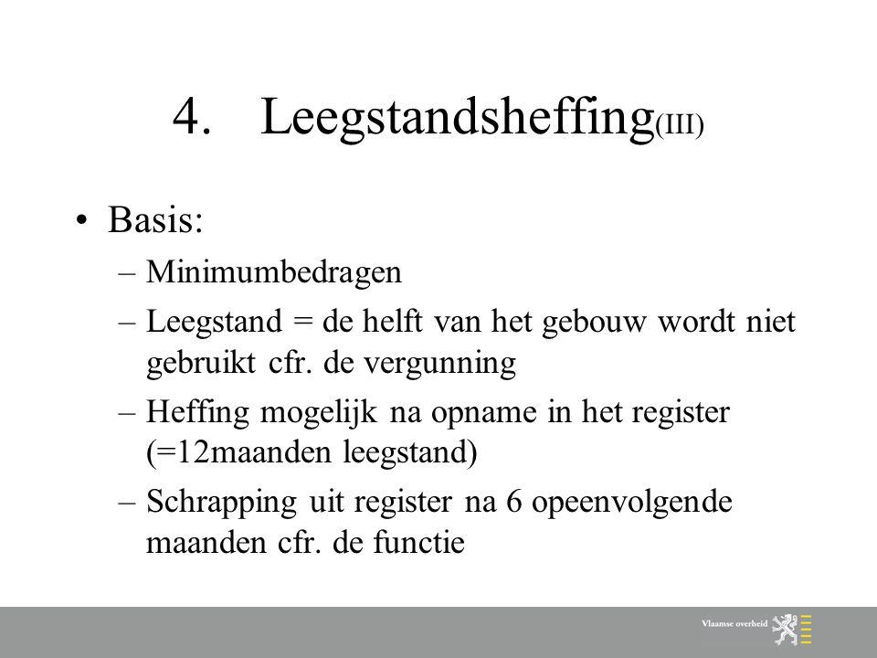 4.Leegstandsheffing (III) Basis: –Minimumbedragen –Leegstand = de helft van het gebouw wordt niet gebruikt cfr.