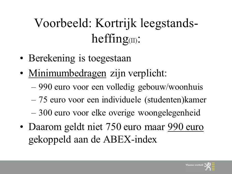 Voorbeeld: Kortrijk leegstands- heffing (II) : Berekening is toegestaan Minimumbedragen zijn verplicht: –990 euro voor een volledig gebouw/woonhuis –75 euro voor een individuele (studenten)kamer –300 euro voor elke overige woongelegenheid Daarom geldt niet 750 euro maar 990 euro gekoppeld aan de ABEX-index